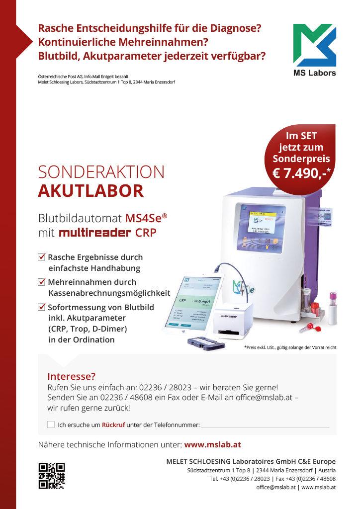 Blutbildgerät MS4Se mit Akutlaborgerät multireader für CRP, Troponin, D-Dimer